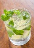 Mojito die in een glas met verpletterde ijs en kalk wordt gediend Stock Fotografie