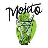 Mojito do cocktail no estilo do esboço para o menu Cocktail clássico contemporâneo de Mojito ilustração stock