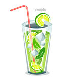Mojito drink. Alcohol fresh cocktail bar stock illustration