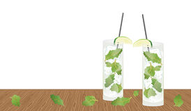 Mojito drink cocktail on the table Royalty Free Stock Image