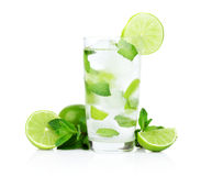 Mojito drink in dewy glass,cold water,ice cubes,mint and limes Stock Photo