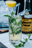 Mojito drink. Glass off Mojito cocktail drink with straws Stock Images