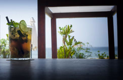 Mojito drink on wood beach bar Stock Photography