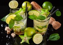 Mojito drinks on black stone Royalty Free Stock Images