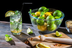 Mojito fez do citrino fresco com gelo Fotografia de Stock