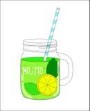 Mojito fresco con el limón y la menta Ilustración del vector Foto de archivo libre de regalías