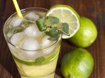 Mojito with fruit lime  and ice. Stock Photo