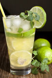 Mojito with fruit lime and ice. Stock Photos