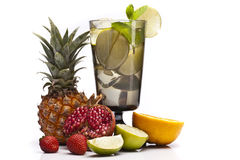 Mojito with fruits isolated on white Stock Images