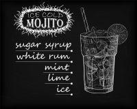 Mojito gentil de verre glacé sur un fond noir Soude avec W illustration stock