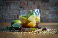 Mojito in a glass - cold drink citrus royalty free stock photography