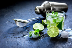 Mojito in glass on dark background close up Royalty Free Stock Image
