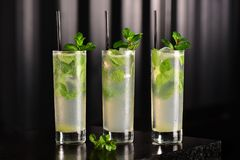 Mojito glass on dark background Royalty Free Stock Photo