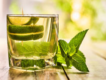 Mojito glass with green transparent drink and lime. Stock Images