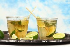 Mojito cocktail with lime and mints Royalty Free Stock Images