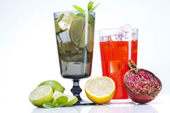 Mojito and Grenadina drink with fruits Stock Photos