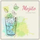 Mojito Hand dragen vektorillustration av coctailen färgrik vattenfärg för bakgrund vektor illustrationer