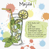 Mojito. Hand drawn illustration of cocktail. Stock Photos