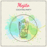 Mojito. Hand drawn vector illustration of cocktail. Colorful watercolor background Stock Photo