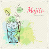 Mojito. Hand drawn vector illustration of cocktail. Colorful watercolor background Stock Image