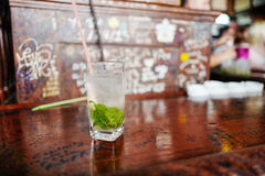 Mojito in Havana, Cuba. La Bodeguita del Medio in Havana, was Ernest Hemingway's favoriate bar, and now is a tourist attraction famous for Hemingway and stock photo