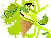 Mojito ice cream. Grunge abstract background with limes and mint Royalty Free Stock Image