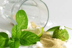 Mojito ingredients. A scenario where all the Mojito ingredients are messed up on a table Stock Image