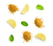 Mojito ingredients. Lemon, mint and cane sugar. royalty free stock image