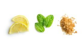 Mojito ingredients. Lemon, mint and cane sugar. stock photo