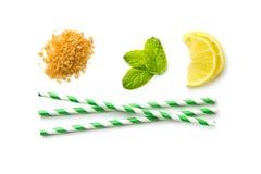 Mojito ingredients. Lemon, mint and cane sugar. royalty free stock photo