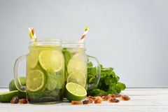 Mojito in jars with handle Stock Photo
