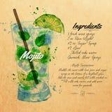Mojito koktajli/lów akwarela Kraft royalty ilustracja