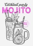 Mojito koktajlu ilustracja, wektorowa ręka rysujący alkoholu napój fotografia stock