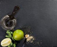 Mojito koktajlu robić Składniki i naczynia Obrazy Royalty Free