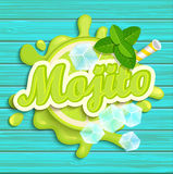 Mojito label splash. Blot and lettering with ribbon and ice cubes on blue wooden background. Splash and blot design, shape creative vector illustration vector illustration