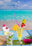 Mojito and lemon lime Cocktails in tropical blue wood Royalty Free Stock Photo