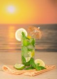 Mojito, lemon and napkin Royalty Free Stock Photos