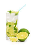Mojito with lime, mint, ice and fruit Stock Photography