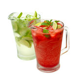 Mojito - lime, mint and strawberries Royalty Free Stock Photos