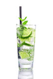 Mojito with lime and mint. On  white Stock Photos