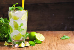 Mojito , lime pieces , leaves of mint with ice and rum Stock Photo