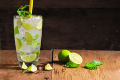 Mojito , lime pieces , leaves of mint with ice Royalty Free Stock Photo