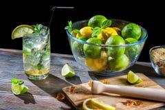 Mojito machte von der frischen Zitrusfrucht mit Eis Stockfotografie
