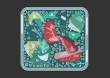 Mojito med jordgubbar i ett kubikexponeringsglas med kalla signalvektordiagram vektor illustrationer