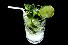 Mojito on black III from above stock image
