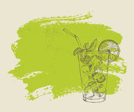 Mojito with mint and lime on green background Stock Photos