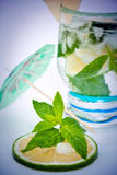 Mojito with mint and umbrella Royalty Free Stock Image