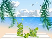 Mojito na praia Imagens de Stock