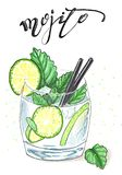 Mojito napój w szkle z clices wapno, nowi liście i dwa słoma pije pociągany ręcznie ilustracja, Zdjęcie Royalty Free