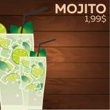Mojito price. Fast food Restauran menu. Vector illustration. Royalty Free Stock Photo